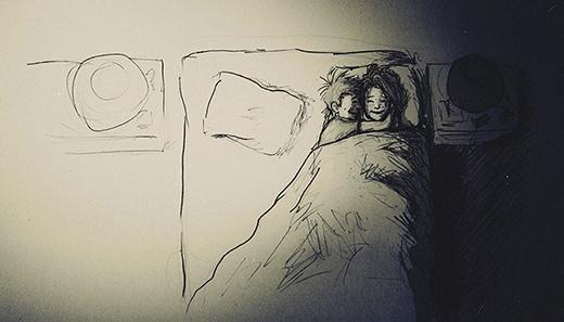 Là giường đôi đấy nhưng hai người chỉ muốn rútsang một phía giường nằm ôm nhau ngủ cho ấm thôi. (Ảnh: Curtis Wiklund)