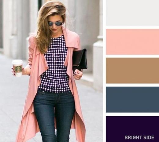 Màu hồng nhạt phối cực hợp với màu trắng xám, nâu be, xanh dương sậm và tím để cho ra phong cách nữ tính mà không kém phần mạnh mẽ. (Ảnh: Internet)