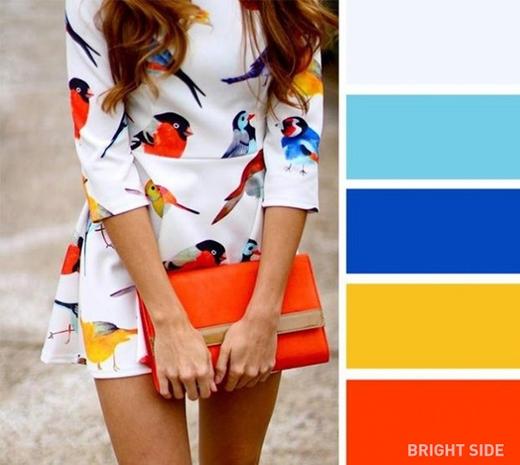 Nếu bạn thích một lần đổi gió làm tắc kè hoa thì hãy thử kết hợp các màu xanh da trời, xanh dương sậm dạ quang, vàng nghệ và cam, còn nền thì hãy thử màu xanh ghi nhạt. (Ảnh: Internet)