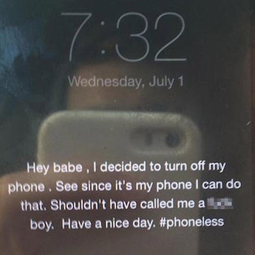 Thông điệp mà chàng traigửi cho cô bạn gái cứng đầu. (Ảnh: Internet)