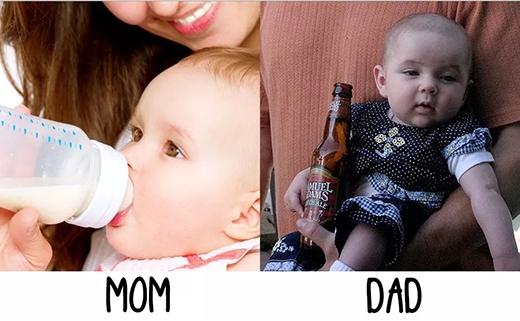 """Con ở với mẹ thì được bú sữa ngon lành, tử tế, còn ở với bố thì: """"Nhậu với bố một chai, con nhé?"""" (Ảnh: Internet)"""