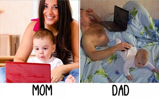 """Mẹ cùng con lướt web, chơi game, còn bố chỉ cần """"cục cưng"""" chu mông làm bàn để chuột thôi. (Ảnh: Internet)"""