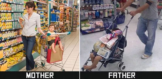 Mẹ tuân thủ đúng quy định của siêu thị, cho con ngồi vào đúng ghế trên xe hàng, còn bố thì khỏi cần xe, có chiếc xe nôi này là đủ rồi. (Ảnh: Internet)