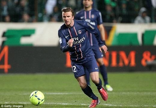 Hình ảnh Beckham trong màu áo Paris Saint German