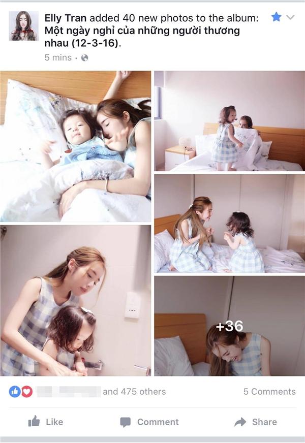 Dòng trạng thái chia sẻ hình ảnh ngọt ngào của Elly Trần và con gái trên trang cá nhân của cô đã nhanh chóng thu hút sự quan tâm của khán giả khi vừa đăng tải. - Tin sao Viet - Tin tuc sao Viet - Scandal sao Viet - Tin tuc cua Sao - Tin cua Sao