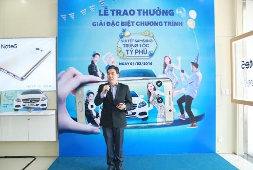 """Ông Nguyễn Quang Hiền Huy đã chia sẻ tại buổi lễ trao giải thưởng """"Vui Tết Samsung, trúng lộc tỉphú""""."""