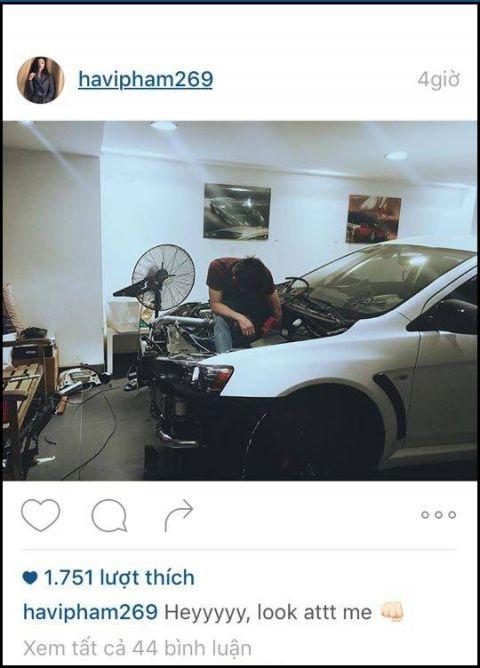 Hạ Vi từng đăng ảnh Cường Đô La sửa xe trên Instagram và cô cũng mới xóa - Tin sao Viet - Tin tuc sao Viet - Scandal sao Viet - Tin tuc cua Sao - Tin cua Sao