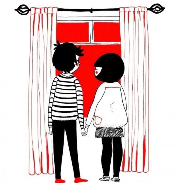 Nắm tay nhau cùng đứng bên ô cửa sổ cũng khiến cảm xúc lâng lâng. Đừng đùa!