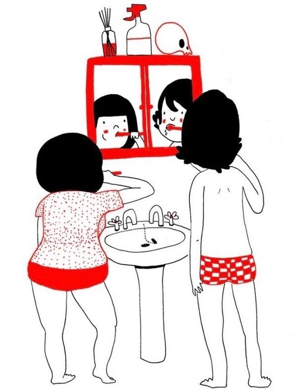 Cùng nhau đánh răng rất vui đấy.