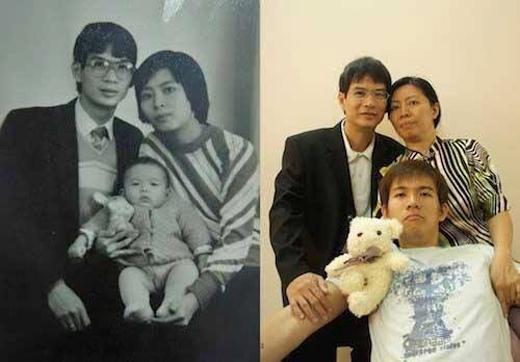 """Nét mặt cha mẹ vẫn không đổi khác, chỉ có cậu chàng đã cao lớn """"phổng phao"""".(Ảnh: Internet)"""