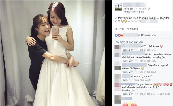 """Ngọc Tútỏ ra khá buồn đăng tải bức hình kèm dòng chia sẻ: """"Đi thử váy cưới không có chồng… Suýt thì khóc"""". (Ảnh: Internet)"""