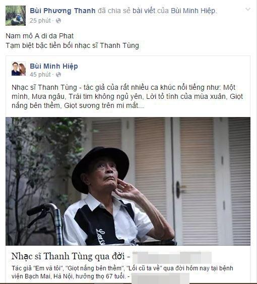 Ca sĩ Phương Thanh cũng vô cùng tiếc thương cho đàn anh của mình. - Tin sao Viet - Tin tuc sao Viet - Scandal sao Viet - Tin tuc cua Sao - Tin cua Sao