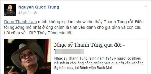 Quốc Trung bày tỏ sự tiếc nuối khi không tổ chức được liveshow cho nhạc sĩ Thanh Tùng. - Tin sao Viet - Tin tuc sao Viet - Scandal sao Viet - Tin tuc cua Sao - Tin cua Sao