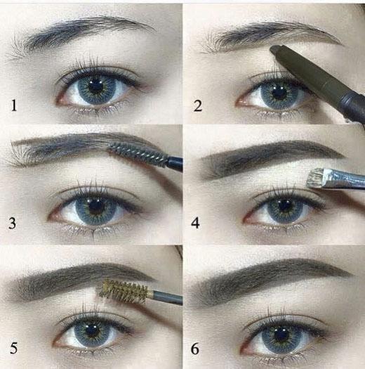 Chỉ cần một cây bút kẻ, một đầu tán, và một cây mascara mày là có thể thực hiện 6 bước trên. (Ảnh: Internet)