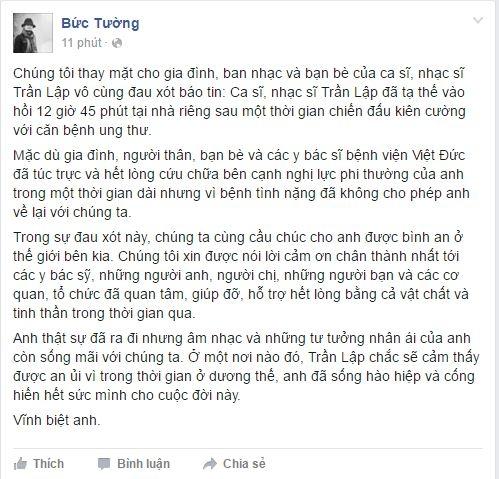 Trên fanpage của ban nhạc Bức Tường, các thành viên còn lại đã chính thức xác nhận tin buồn này. Sự ra đi của Trần Lập đã để lại nhiều tiếc nuối cho người ở lại. - Tin sao Viet - Tin tuc sao Viet - Scandal sao Viet - Tin tuc cua Sao - Tin cua Sao
