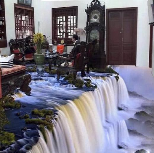 Nghệ thuật sàn nhà 3D tạo ảo giác như căn phòng này được đặt trên đỉnh của một thác nước. (Ảnh: Internet)