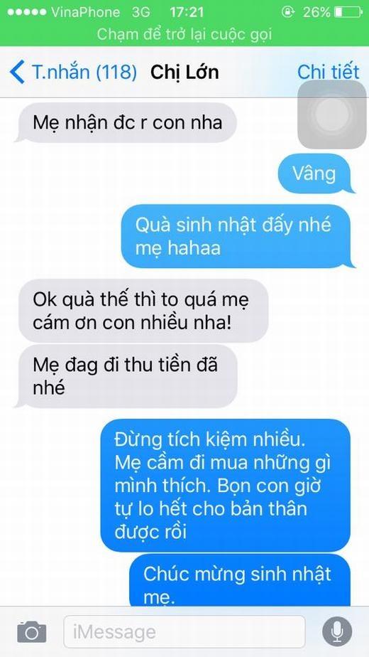 Màn hình đoạn chat giữa hai mẹ con Vân Shi.