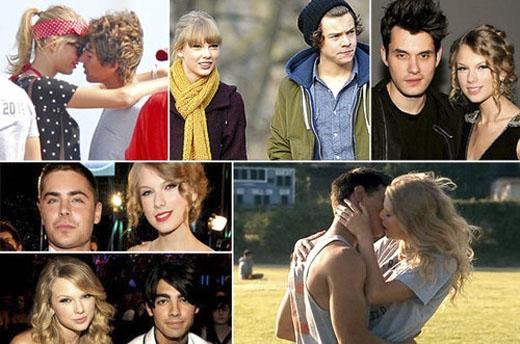 Taylor là một cô gái gặp nhiều trắc trở tình trường và có nhiều mối tình chóng vánh với danh sách bạn trai cũ dày dặc, từ Taylor Lautner đến John Mayer, Joe Jonas, Harry Styles, Jake Gyllenhaal... Và cứ sau mỗi lần chia tay, một bản hit về người yêu cũ của cô lại được ra đời và thống trị các bảng xếp hạng. (Ảnh: Internet)
