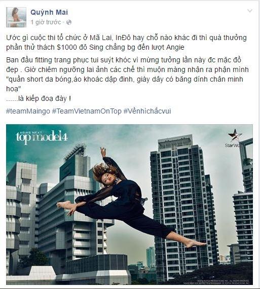 Trong dòng trạng thái chia sẻ sau khi tập 2 phát sóng, cô còn thẳng thắng cho rằng nếu chương trình không tổ chức tại Singapore thì chưa chắc đại diện chủ nhà Angie đã chiến thắng trong thử thách phụ. Tuy nhiên, tất cả ở Asia's Next Top Model vẫn dừng lại là một cuộc chơi. Chặng hành trình và cả tương lai của Quỳnh Mai vẫn còn ở phía trước. Và chắc chắn sự ủng hộ của khán giả sẽ giúp cô nàng có những bước tiến vững vàng hơn trong thời gian tới.