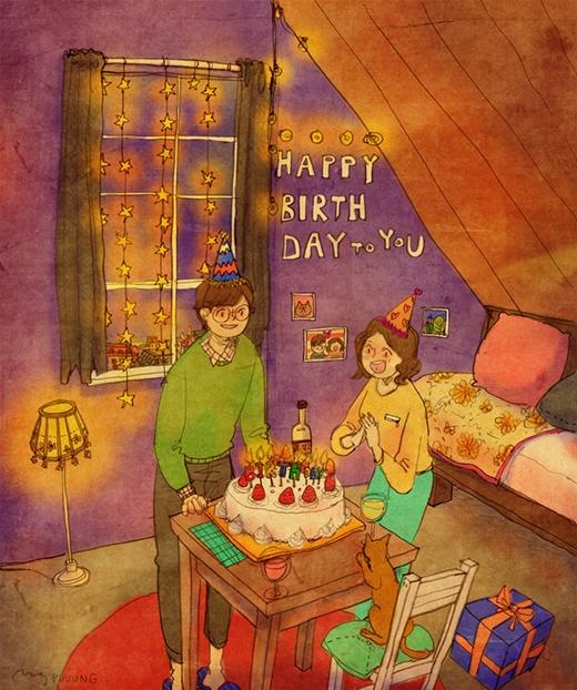 Chàng họa sĩ còn kìcông tổ chức sinh nhật cho vợ với đầy đủ bánh kem và dây trang trí rực rỡ. (Ảnh: Puuung)