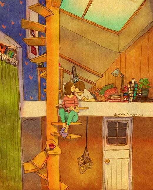 Một đêm lãng mạn khi hai vợ chồng tạm dừng đọc sách để hôn nhau. (Ảnh: Puuung)