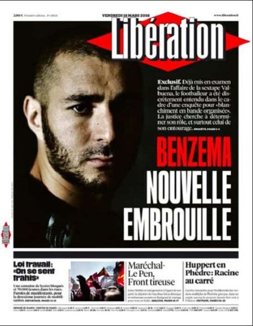 """Trang nhất tờ Liberation giật tít: """"Benzema - scandal mới"""""""