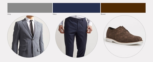 Áo màu xám pha xanh kết hợp với quần navy đảm bảo sẽ thu hút mọi ánh nhìn dù cho đây là 2 gam màu tối. Để tạo điểm nhấn, cần kết hợp với giày nâu và một chiếc túi da nâu làm phụ kiện.