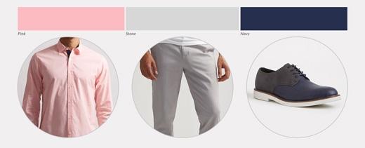 Đây là gam màu dành cho những anh chàng thích trang phục sáng màu, phù hợp cả ở công sở lẫn ngoài phố. Chiếc quần màu trắng xám sẽ làm nền cho sơ mi hồng và giày navy. Nên dùng phụ kiện là một chiếc thắt lưng màu đen để cân bằng độ trầm cần thiết.