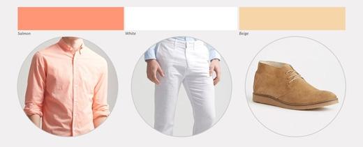 Set màu này tương đối giống set màu thứ 2 ở trên, có điều sáng màu hơn và nổi hơn một chút, dành cho những anh chàng có thừa sự tự tin. Một đôi giày nâu nam tính và một chiếc thắt lưng màu cà phê sẽ giúp kéo lại độ mạnh mẽ cho bạn.