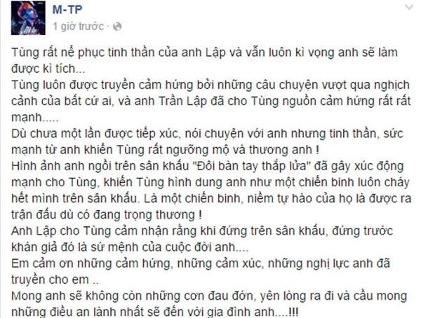 Dòng trạng thái của Sơn Tùng M-TP trên trang cá nhân. (Ảnh: Facebook M-TP) - Tin sao Viet - Tin tuc sao Viet - Scandal sao Viet - Tin tuc cua Sao - Tin cua Sao