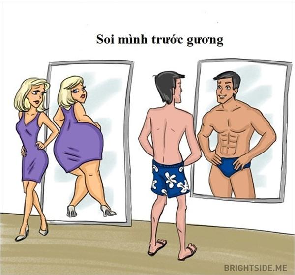 Dù sở hữu thân hình chuẩn, phụ nữ vẫn cho cho rằng mình béo. Ngược lại, nam giới lại luôn nghĩ về vể ngoài săn chắc 6 múi.