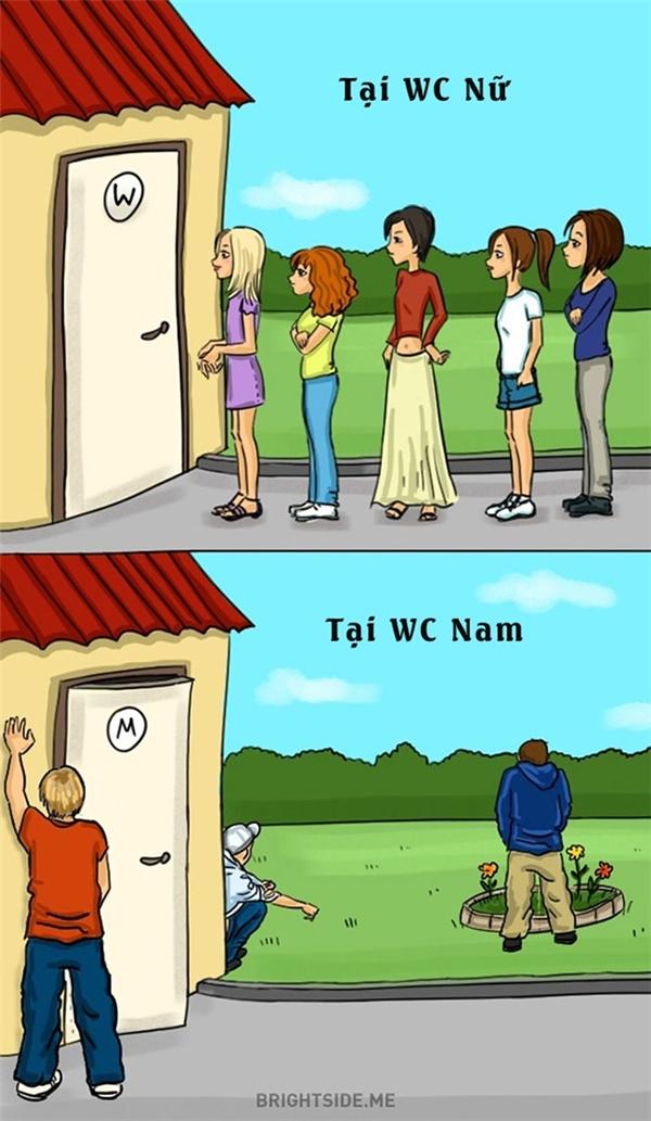 Sự khác biệt khi họ phải chờ đợi trước cửa nhà vệ sinh.