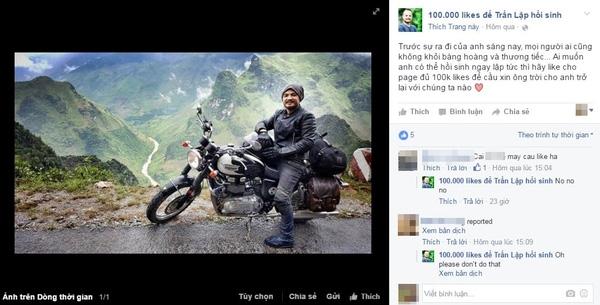 Một fanpage sử dụng hình ảnh của Trần Lập cho hành vi vô nhân đạo.(Ảnh: Chụp FB)