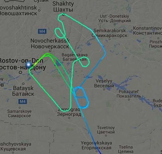 Đường bay của chuyến bay FZ891. Ảnh: Flight Radar