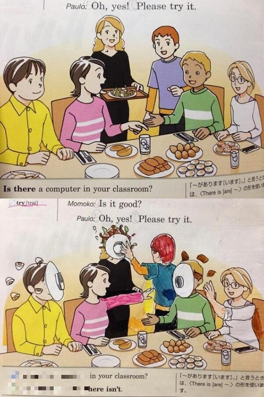 Một bữa cơm vui vẻ, yên bình trở nên sôi động và... bạo lực hơn hẳn khi mọi người tổ chức ném đồ ăn vào mặt nhau. Có lẽ bạn học sinh này đang căng thẳng kinh khủng. (Ảnh: Internet)