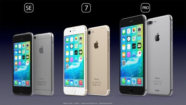 iPhone SE, iPhone 7 và iPhone 7 Pro trong hình dung của Martin Hajek.