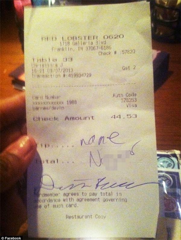 """""""Không có tiền tip cho người da đen"""". (Ảnh: Internet)"""