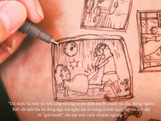 Ba Tú nhiều đêm đến mệt vì những lần mẹ Giang bị chuột rút.(Ảnh: Caniegraphy)