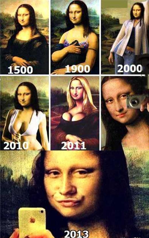 """Từ người phụ nữ truyền thống vào năm 1500, Mona Lisa đã thay đổi đáng kể, từ vai áo hờ hững trễ xuống năm 1900, cho đến hình tượng bốc lửa năm 2010 và trào lưu """"mỏ vịt"""" để """"tự sướng"""" cùng iPhone. (Ảnh: Internet)"""
