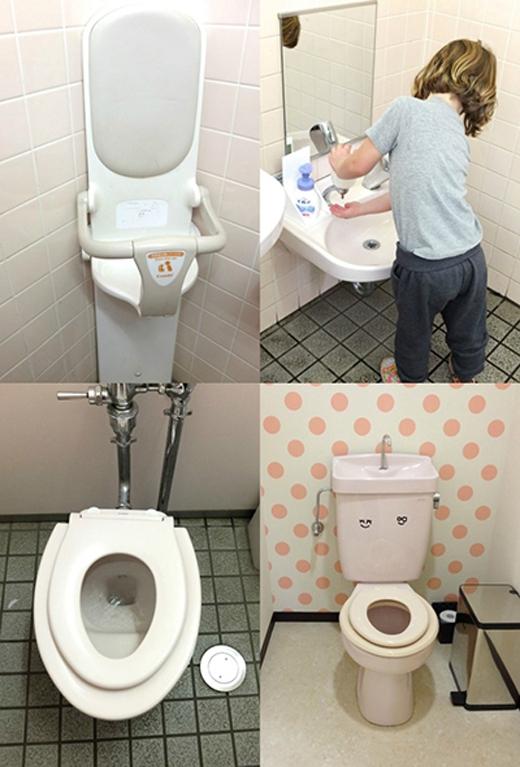 Bồn cầu và bồn rửa tay mini vừa tầm tay giúpbé thoải mái đi vệ sinh. (Ảnh: Internet)
