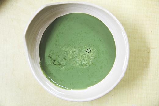 Đây chính là hỗn hợpbột trà xanh, sữa và genlatine.(Ảnh: Internet)
