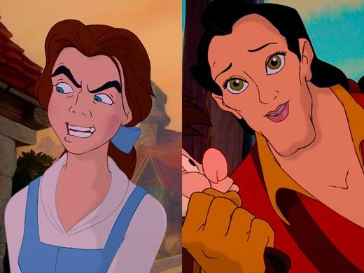 Belle & Gaston trong Beauty and the Beast: Gaston sẽ có khuôn mặt xinh đẹp đúng chuẩn bà thím nếu gọt bớt chiếc cằm quá lố kia đi. (Ảnh: Internet)
