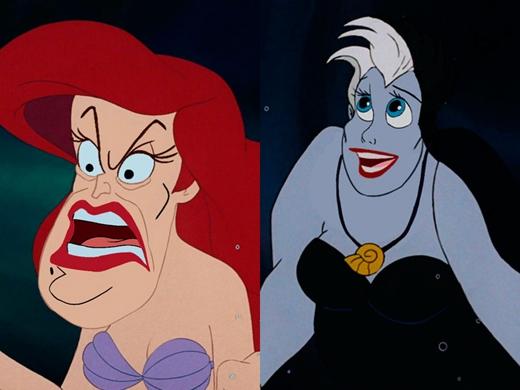 Ariel & Ursula trong Nàng Tiên Cá: Ursula không cần cướp đi giọng hát của Ariel, chỉ cần cướp khuôn mặt của nàng là đủ. (Ảnh: Internet)