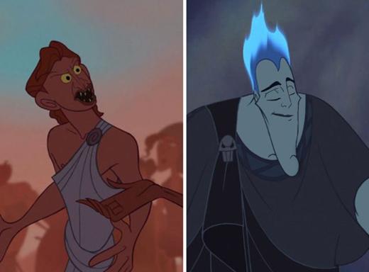 Hercules & Hades trong Hercules: vẻ mặt của Hercules khi biết mình mang vẻđẹp trai của thần chết. (Ảnh: Internet)