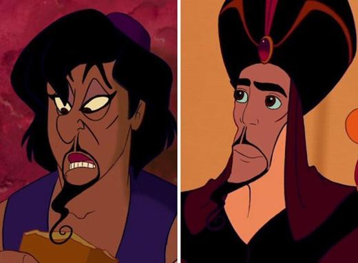 Aladdin & Jafar trong Aladdin: Jafar có dáng vẻ của một bậc đại hiền triết anh minh sau khi đã cải tổ nhan sắc triệt để. (Ảnh: Internet)