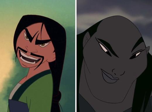 Mộc Lan & Shan Yu trong Hoa Mộc Lan: từ một nữ hiệp và một ác nhân, sau khi hoán đổi khuôn mặt, họ đã trở thành một đại ác nhân và một đại ác tăng. (Ảnh: Internet)