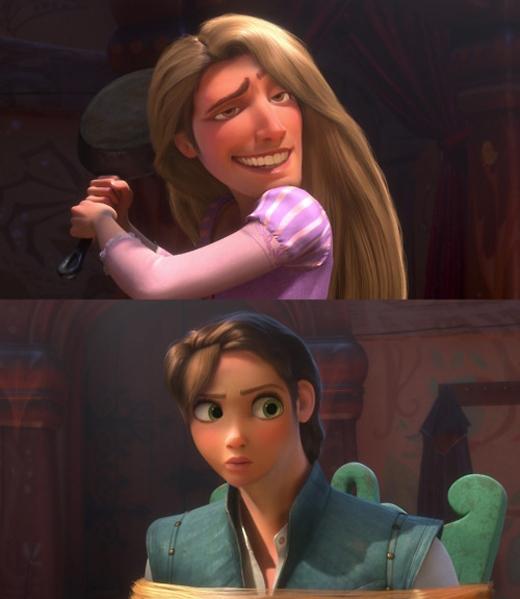 Rapunzel & Flynn Rider trong Tangled: từ một nàng công chúa và một tên trộm, giờ chúng ta có một cặp đôi đầu trộm đuôi cướp. (Ảnh: Internet)