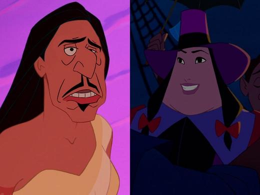 Pocahontas & Thống đốc Ratcliffe trong Pocahontas: Thống đốc Ratcliffe trông giống một mụ chủ đất đang đi gõ cửa từng nhà đòi nợ. (Ảnh: Internet)