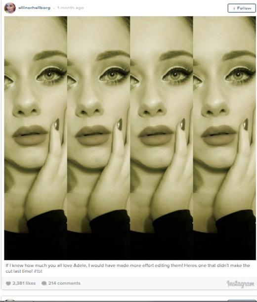 """""""Chị em sinh đôi""""của Adele thu hút lượng theo dõi khủng khi sở hữu gương mặt giống nữ ca sĩ nổi tiếng. Nhiều người cho rằng thần thái và biểu cảm của cô cũng không thua kém gì đàn chị. (Ảnh: Internet)"""