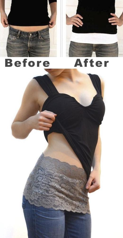 Hãy mặc thêm một đoạn vải ống từ vòng eo xuống mông, để che đi phần hở. (Ảnh: Internet)